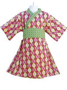 Girls Kimono Dress - PINK VERDE-  Japanese Yukata for Baby Toddler Girls by koolmono on Etsy