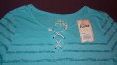 New Mudd Blue Stripped Shirt 3/4 Sleeve Girl's Size 16 1/2  Lace Up #Mudd #Everyday