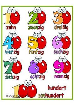 Lernposterfür die Zehner-Zahlenev. auf A3 kopieren(im Entwurfsdruck sind die Farben besser)Viel Freude damit! ; ) - DaF Arbeitsblätter