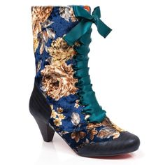 Make like Marie Antoinette and stand out amongst the bourgeoisie in these Georgian inspired calf high boots. A soft fabric floral upper enrobes this gorgeous boot and is finished off with silky ribbon laces. High heeled boots C High Heel Boots, Heeled Boots, Navy Boots, Women's Boots, Irregular Choice Shoes, Brand Name Shoes, Pin Up Outfits, Cute Boots, Crazy Shoes
