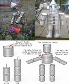 Tin can man! Also see Yard Art for Aluminum Can Crafts, Tin Can Crafts, Metal Crafts, Plastik Recycling, Carillons Diy, Tin Can Man, Tin Can Flowers, Recycle Cans, Repurpose