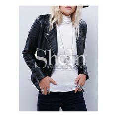 SheIn(sheinside) Black Zipper PU Leather Jacket (125 PLN) via Polyvore featuring outerwear, jackets, black zipper jacket, black collarless jacket, collar jacket, short black jacket i short jacket
