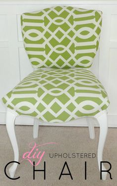 Reupholstering thrift store chairs is a great way to save money, and I've probably salvaged more than 10 of them since the start of this blog. This green and white chair was one of my favorite redos, mostly because of how terrible it looked when I got it. All it needed was about a yard of fabric and a little paint for the legs.