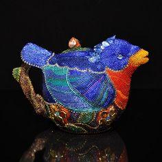 Blue Bird Teapot by Kathy Wegman at Pismo Fine Art Glass