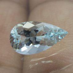 1.6 Carat 10.9x6 mm Pear Shape Inclused Natural Light Blue Aquamarine Cut Stone #Unbranded