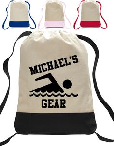 School Gym bag - Swimmer totebag - closure Totebag Backpack personalized with name - Swim Team clothing bag - Sports totebag Custom Made T Shirts, Custom Tees, Personalized Backpack, Personalized Pillow Cases, Tote Backpack, Drawstring Backpack, Tote Bag, Best Commercials, Swag