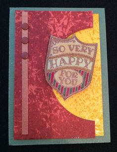 Stampin' Up! ATC, Artist Trading Card, So Very Happy stamp set, faux leather, faux batik, masculine, no-iron resist  Card by Beverly Stewart