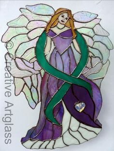 Stained Glass Cancer Survivor Angel with Swarovski Crystal Heart  ~~  Pam's Angel