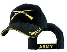 Army Infantry Black Embroidered Military Baseball Cap