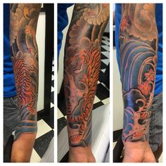 Japanese tiger sleeve finished. Done at Freehold Tattoo in Freehold, New Jersey