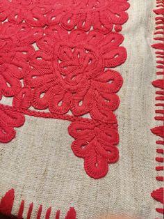"Vintage transilvanian handmade embroidered red pillow case traditional ""Kalotaszegi írasos ""  made by handwoven linen Hemp Fabric, Red Pillows, Cotton Thread, Loom, Craft Supplies, Pillow Cases, Hand Weaving, Textiles, Kids Rugs"