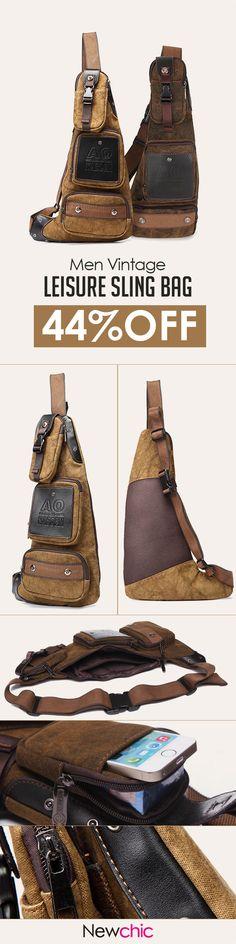 US$28.37 Men Vintage Casual Chest Bag Retro Shoulder Bag Leisure Crossbody Bag#bags#vintagefashion