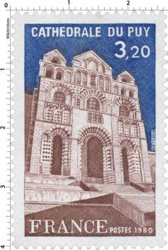 "Cathedrale du Pay .Post stamp printed in France,circa 1980. Le Puy Cathedral (Cathédrale Notre-Dame du Puy) is a Roman Catholic cathedral, and a national monument of France, in Le Puy-en-Velay, Auvergne. It has been a centre of pilgrimage in its own right since before the time of Charlemagne, as well as forming part of the pilgrimage route to Santiago de Compostela. Since 1998 it has been a UNESCO World Heritage Site, as part of the ""Routes of Santiago de Compostela in France""."