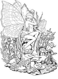 Links to several printable coloring pages for grown-ups, including fairies, unicorns, dragons and Christmas