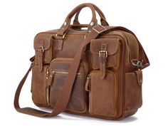 Vintage Leather Briefcase Handmade Genuine Dispatch Travel Bag