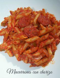 Macarrones con chorizo (Olla GM) -11pp- Chorizo, Italian Recipes, Shrimp, Bacon, Spaghetti, Food And Drink, Chicken, Breakfast, Ethnic Recipes