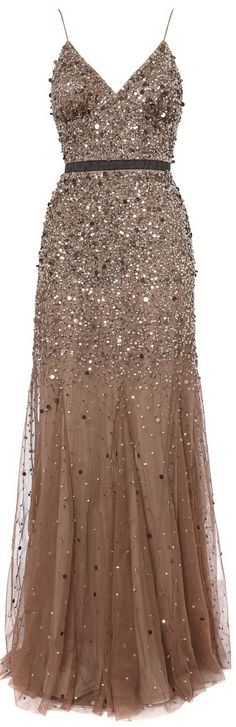 Untold Beige Beaded Godet Dress