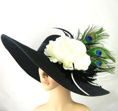 Peacock Feathers Derby Hat ,Black Kentucky Derby Hat,Dress Hat ,Wide brim black Hat ,Women's Dress Hat Wedding Tea Party Ascot  Horse Race