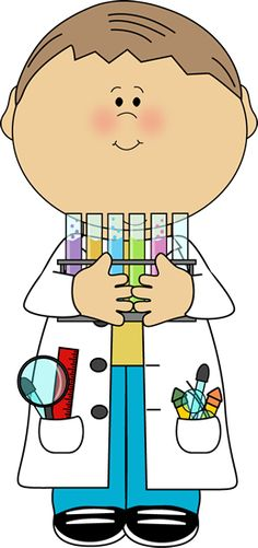 Kid Scientist with Test Tubes Clip Art - Kid Scientist with Test Tubes Vector Image