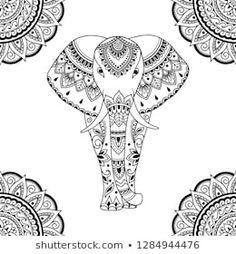 Seamless decorative ornament in ethnic oriental style. Circular pattern in form of mandala and African elephant for Henna, Mehndi, tattoo, decoration. Oriental Fashion, Oriental Style, Henna Drawings, Circular Pattern, Classic Paintings, Black White Art, Tattoo Sketches, Illustration Art, Art Illustrations