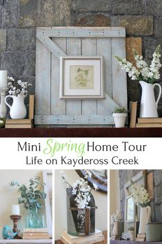 Simple additions to everyday decor and pops of blue make for beautiful Spring Decor. Mind Spring Home Tour #farmhouse #Spring #Lifeonkayderosscreek #springdecor