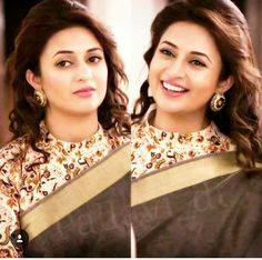 Divyanka-YHM Saree Saree Blouse Neck Designs, Saree Blouse Patterns, Brocade Blouses, Designer Blouse Patterns, Elegant Saree, Beautiful Blouses, Sarees, Divyanka Tripathi Saree, Fashion Blouses