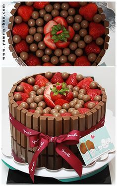 Kit Kat Cake with strawberries and either Bon bons or malted milk balls. Yes strawberries and chocolate Kitkat Torte, Cake Recipes, Dessert Recipes, Kolaci I Torte, Valentines Day Cakes, Malted Milk, Strawberry Cakes, Creative Cakes, Let Them Eat Cake