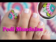 New fails art tutorial link Ideas Mani Pedi, Manicure And Pedicure, Hair And Nails, My Nails, Cute Pedicures, Mandala Nails, Finger, Feet Nails, Toenails