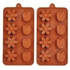 4 Plum Flores + 4-Tulipas Estilo Bolo / Chocolate / Biscuit Moldes - castanho (2 PCS)
