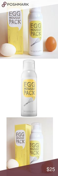Too Cool For School Egg Mousse Pack Egg Mousse Pack by Too Cool for School   A whipped foam facial mask made from egg white and egg yolk extracts that creates a smooth and radiant perfection in as little as five minutes.  Egg white extract purifies and brightens, while egg yolk extract leaves skin hydrated and silky smooth. This unique, frothy facial mask deeply moisturizes and enhances the use of other skin care products for beautifully luminous skin.  Brand new in box! ✨ Sephora Makeup