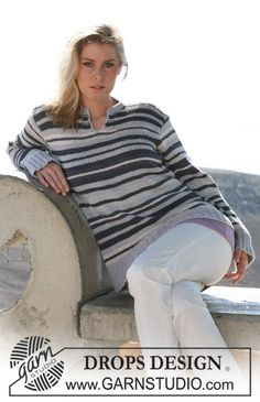 DROPS jumper with stripes in Paris and Cotton Viscose. Free pattern by DROPS Design.