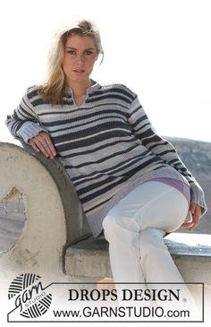"DROPS jumper with stripes in ""Paris"" and ""Cotton Viscose"". ~ DROPS Design"