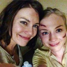 "Lauren Cohan & Emily Kinney;  ""Sisters""  Maggie & Beth Greene,  saying good bye"