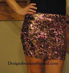 Pink / Gold Swirl Sequin Mini Party Skirt - High Quality = Sizes XS-XL custom! | eBay