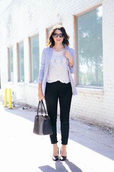 Make basics look anything but basic. Kendi Everyday dresses up a simple white tee and black skinnies with her fave heels and colored blazer. | Source: http://www.kendieveryday.com/2014/08/weekday-to-weekend-basic-edition.html
