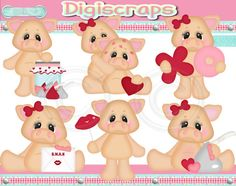 Hogs and Kisses  Valentine digital Clip Art Set  by Digiscrapsau