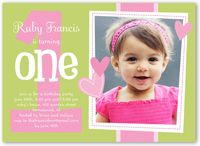Girl first birthday invitation elephant girl birthday pink and baby girl first birthday invitations girl 1st birthday invites shutterfly stopboris Image collections