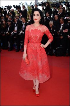 Dita Von Teese wears ELIE SAAB Haute Couture Spring Summer 2013 to the premiere of 'Cleopatra' at The 66th Annual Cannes Film Festival.