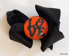Baltimore Orioles LOVE MLB Baseball Orange & Black Grosgrain Ribbon Hair Bow, Barrette, Oriole, Maryland MD O's Clip, Team Hairbow, Fan Gear by SmoreCrafty on Etsy