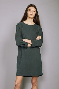 Raglan Tee Dress Khaki Green Ethical Clothing Bare Bones Ethi