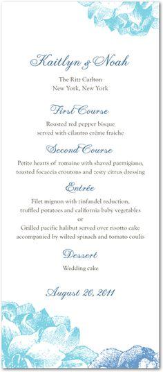 A soft floral design adds detail to this wedding reception menu card. Find more wedding reception stationery options at www.weddingpaperdivas.com.