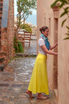 Bohochic look Linen long yellow skirt and a multicolor scarf Location :Monemvasia ,Greece Follow me on instagram @alexandradts,  hashtag #alexandradts#