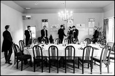 The guys having a pre ceremony lunch before this winter wedding, blogged today -