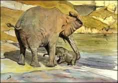 Mother and baby elephant scenes. This is the story of a elephant family going to an African river to have a bath. Original watercolor painting by Juan Bosco - San Martin Arts & Crafts.