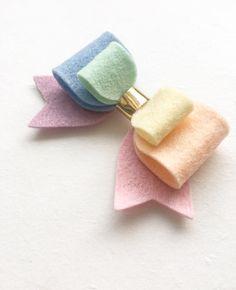 Pastel Rainbow Hairbow Spring pastel felt bow handmade