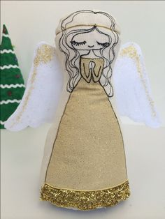 Golden angel Freemotion embroidery doll, Christmas, calico doll, cloth doll, doll pattern