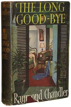 """books0977: """" The Long Good-Bye. Raymond Chandler. London: Hamish Hamilton, 1953. First edition. Original pictorial dust jacket designed by Fritz Wegner. """"I went out the kitchen to make coffee - yards..."""