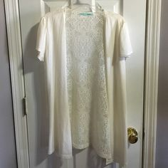 Maurices Cream Cardigan Short sleeve and and lace back. Super soft and like new. Maurices Sweaters Cardigans