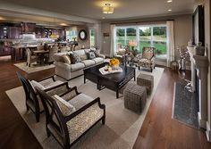 Transitional Great Room with Carpet, metal fireplace, flush light, High ceiling, Hardwood floors, Pendant light