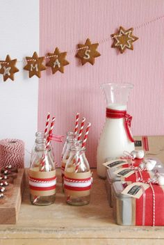 Milk bottles and cute striped straws.